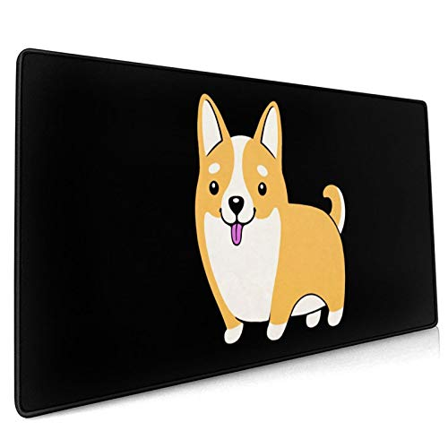 Corgi Dogs Mouse Pad, Non-Slip Mouse Mat with Stitched Edges Waterproof Keyboard Pad Non-Slip Rubber Base Mousepad for Laptop, Computer & PC 15.8x35.5 in