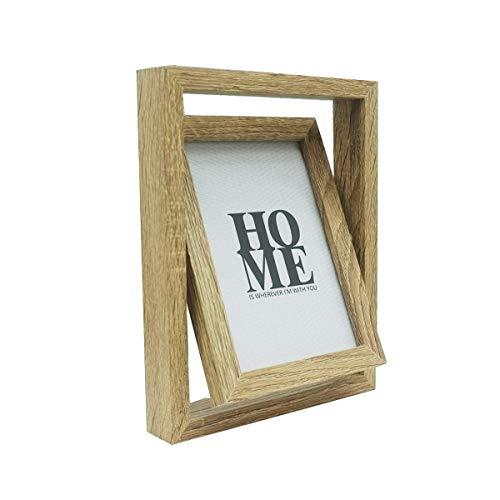 Marco de fotos de madera de 15 x 10 cm, marco de fotos giratorio de doble cara con ventana de cristal, soporte de grosor sobre escritorio o mesa, 15,8 x 20,8 x 3 cm, color natural
