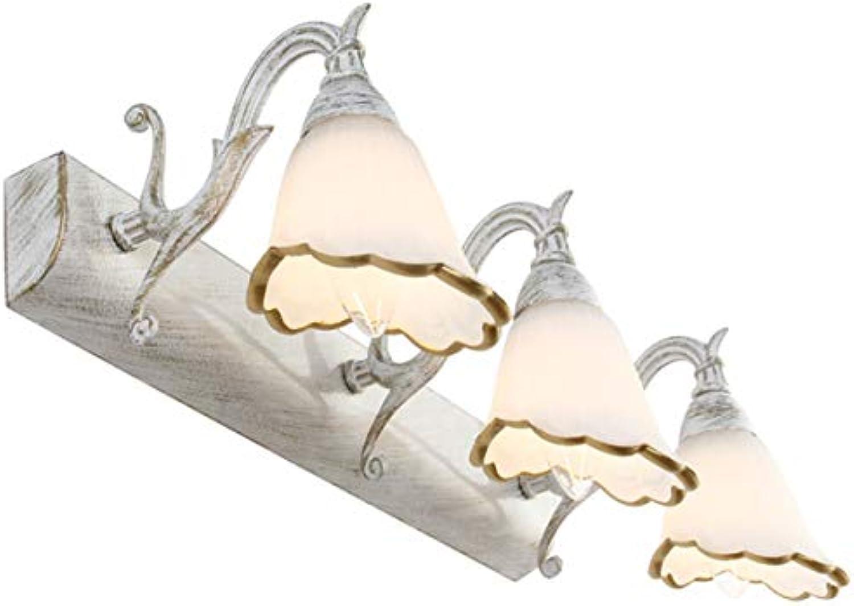 GDLight Badezimmer-Eitelkeits-Licht-amerikanische Weinlese-Schmiedeeisen-Spiegel-Frontlampe Klassische Blaume 3 Licht bilden Wandleuchte für Hotelschlafzimmer