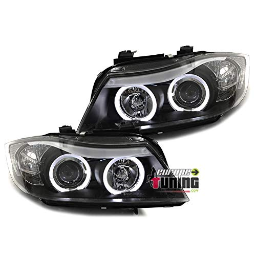 europetuning - 01032 - PHARES FEUX ANGEL EYES NOIRS ANNEAUX LEDS SERIE 3 E90 & E91 PHASES 1 05-08