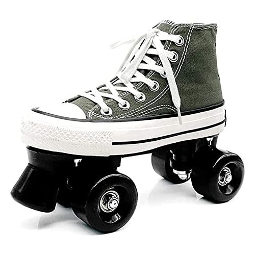 BHDYHM VIIPOOPattini in Tela Rolling Scarpe per Le Donne Ragazza Roller Quad Skates Confortevole E Traspirante con Doppia Fila Scarpe Rotolanti in Tela,Green-42