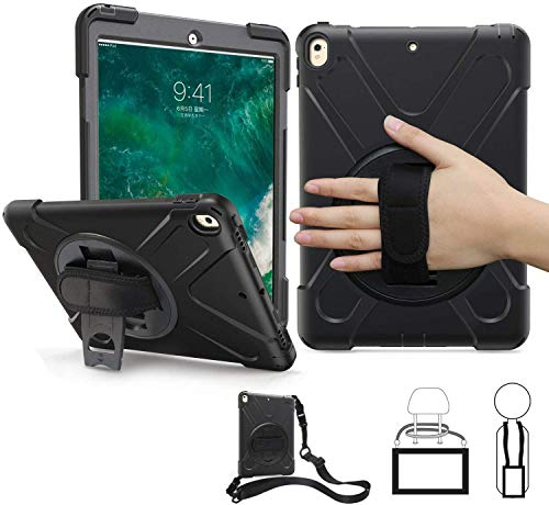 TSQ iPad Pro 10.5 Case 2017/ iPad Air 3 Case 2019, Heavy Duty Rugged Protective Hard Case with Stand,Handle Hand Strap&Shoulder Strap, iPad Air 3rd Generation 10.5 inch for Kids A1701 A1709 A2152 Blk