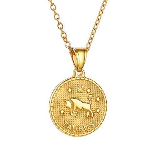 GoldChic Color Oro Medalla de Tauro Collar de Constelaciones de Cumpleaños para Mujeres Hombres