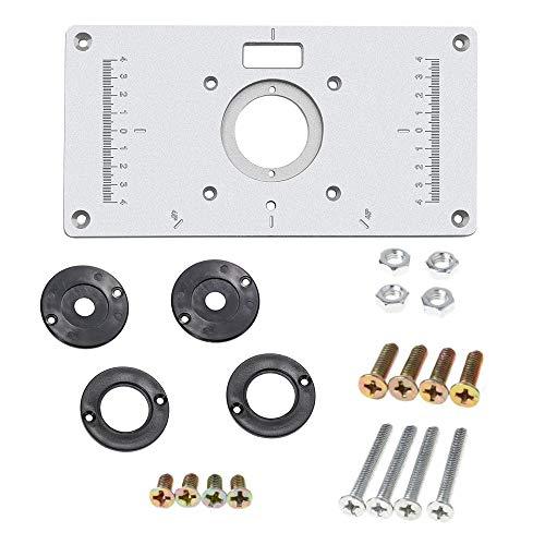 Inserto con piastra in lega di alluminio, con 4 anelli e viti per banchi per la lavorazione del legno, 235 mm x 120 mm x 8 mm