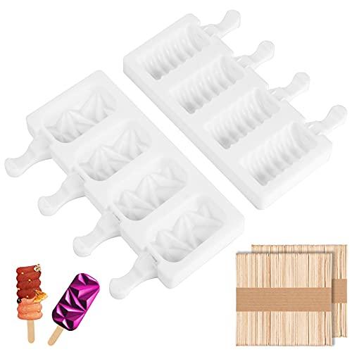 2 STÜCK 4 Zellen Eisformen Eis am Stiel Silikon, für Kreative DIY Eisstange Gefrorenes Eis am Stiel, mit 100 Holzstielen Eisform Silikon