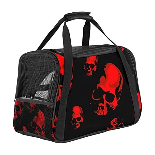 Transportador de mascotas aterrador cráneo rojo patrón suave para mascotas transportadores de viaje para gatos, perros cachorros comodidad portátil plegable bolsa para mascotas aprobada por aerolíneas
