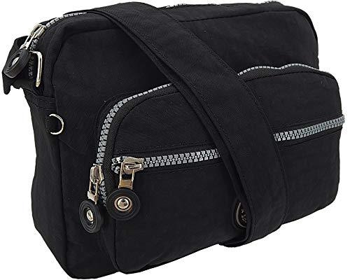 Kleine leichte Damen-Handtasche Umhängetasche aus hochwertigem wasserabwesendem Crinkle Nylon (Schwarz)