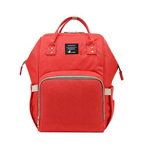 BESTOYARD 1 stück Mummy Bag PVC Leder unten Wasserdichte große kapazität windel Tasche mit USB Port und schlüsselanhänger (rot)