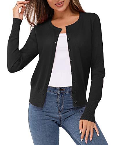 Newshows Women's Solid Button Down Long Sleeve Classic Crew Neck Knit Cardigan Sweater(Black,Medium)