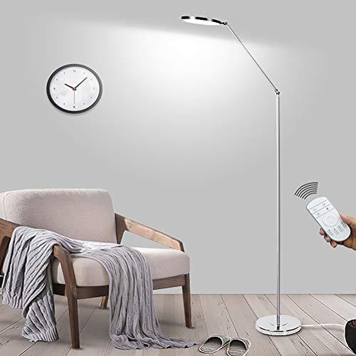 QJUZO LED Stehlampe Dimmbar Mit Fernbedienung,15W Super Hell Augenschutz Bürolampen Modern Stehleuchte Wohnzimmer, Schlafzimmer Standleuchte Leselampe Chrome, 300 ° Spin, Silber