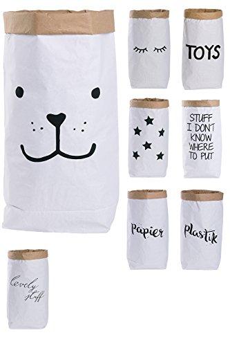 Lifestyle Lover Papiersack Paper Bag rund Kraftpapier Beutel Braun Weiß 'Bär'