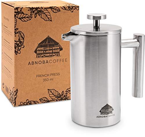 ABNOBACOFFEE French Press Edelstahl | doppelwandig isoliert| Kaffeepresse | Kaffeebereiter inkl. 3 Ersatzfilter (0,35 Liter)