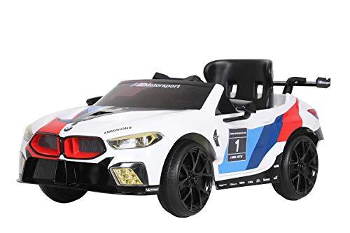 ROLLPLAY Elektroauto BMW M8 GTE, Für Kinder, 3 – 6 Jahre, 12 V 7 Ah Akku, 5 km/h, inkl. Fernsteuerung, MP3, Radio, Weiß