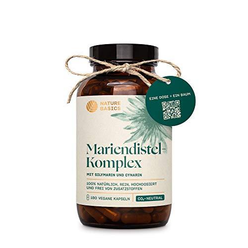 Nature Basics® Mariendistel Komplex im Glas   frei von Zusatzstoffen & CO-neutral   180 vegane Kapseln   900mg pro Tagesdosis   natürlich hochdosiert mit 80{552f8fdd3972bd9987cac975f80b0611027cd6f602d9c2b0186929be00db4f72} Silymarin & 2,5{552f8fdd3972bd9987cac975f80b0611027cd6f602d9c2b0186929be00db4f72} Cynarin   nachhaltig
