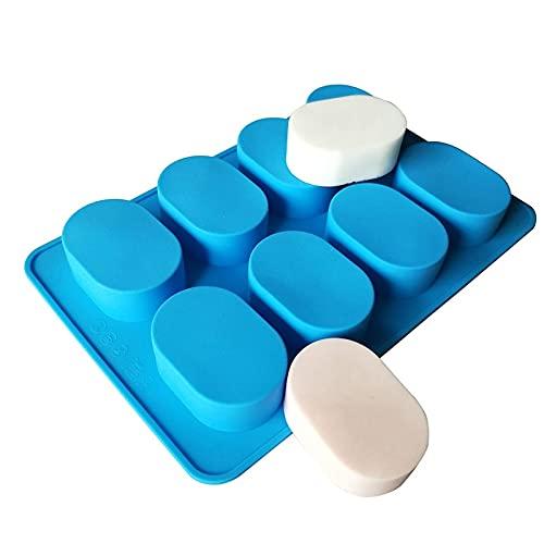 LUOSHUAI Moldes para Jabones 6 Cavidad Oval Molde de jabón de Silicona Bricolaje Jabón Artesanal Hecho a Mano Haciendo Herramientas de Pastel moldes Moldes De Silicona para Jabones