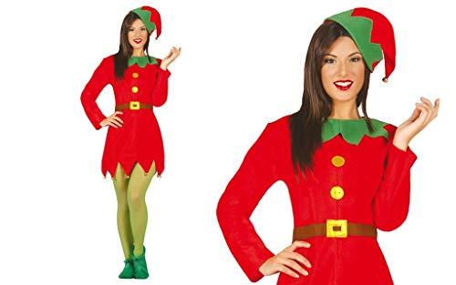 Guirca - Disfraz de Elfo para Mujer Adulta con Forma de elfa, Color Rojo y Verde, Talla M.