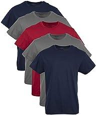Gildan Men's Crew T-Shirt Multipack, Navy, charcoal, cardinal Red Assorted 5 Pack, Large