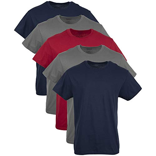 Gildan Men's Crew T-Shirts, Multipack, Navy/Charcoal/Red (5-Pack), Large