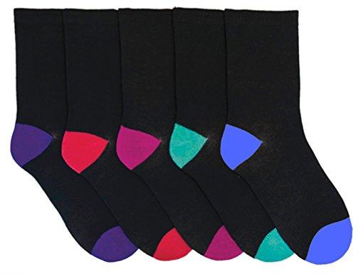Rjm Damen 5er Packung Baumwoll Socken Schwarz Mit Mehrfarbig Ferse und Zehen 4-7