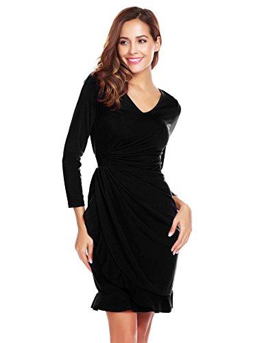 Zeagoo Dames Taille-jurk met lange mouwen Etuijurk cocktailjurk wikkeljurk zakelijke jurk met volant V-hals