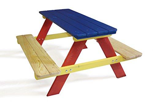 GartenDepot24 Mesa de picnic infantil de madera, multicolor, 90 x 85 x 45/23 cm