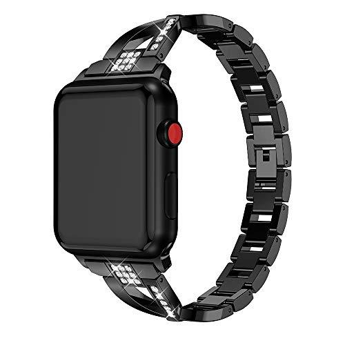 ZHAODONG en Forma de X Correa de Reloj de Diamantes sólido de Acero Inoxidable Reloj de la Correa de Reloj de la Banda de Reloj de Apple Serie 3 y 2 y 1 42 mm (Negro) (Color : Black)