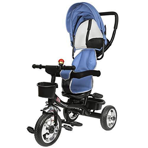 meihe Tricycle de Bébé,Tricycle Enfants évolutif avec Pare-Soleil Pliable et Canne Parentale Ajustable-Roues Silencieuses- Jeux au Volant(75 * 46 * 106) (B)