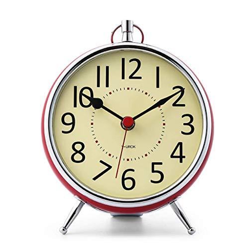 O&YQ Comptoir Horloge de Table Muet Salon Chambre Chevet Rétro Horloge de Table en Métal Il S'Applique à Pour les Familles Bureaux Ectrouge