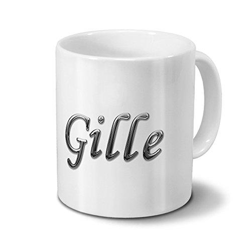 Tasse mit Namen Gille - Motiv Chrom-Schriftzug - Namenstasse, Kaffeebecher, Mug, Becher, Kaffeetasse - Farbe Weiß
