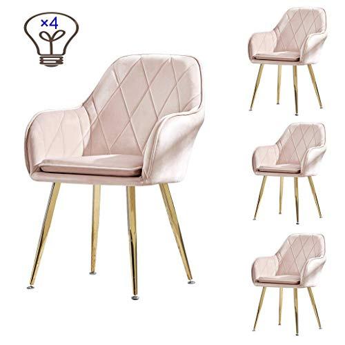 JIEER-C Ergonomische stoel voor eetkamer, comfortabele pasvorm, keuken, woonkamer, make-uptafel/opbergvak, 4-delige set van velours, poten van roestvrij staal, titanium, goudkleurig #1