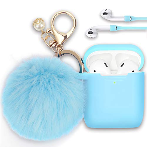 Filoto Case for Airpods, Airpod Case Cover for Apple Airpods 2&1 Charging Case, Cute Air Pods Silicone Protective Accessories Cases/Keychain/Pompom/Strap, Best Gift for Girls and Women, Sky Blue