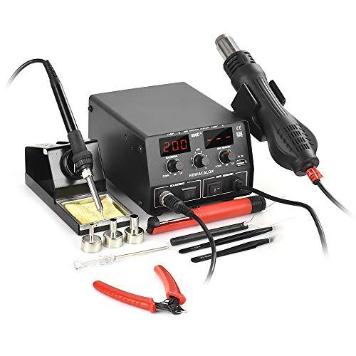886D+ Digital Soldering Station, SMD ESD Safe 3 in 1 Soldering Iron Hot Air Rework Station 5V USB Charging Port, Infinite-Temperature-Regulation-Mode 700W 110V