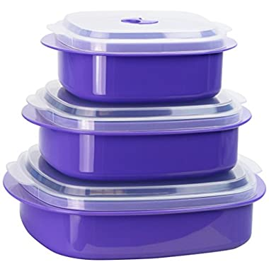 Calypso Basics by Reston Lloyd 6-Piece Microwave Cookware, Steamer and Storage Set, Purple