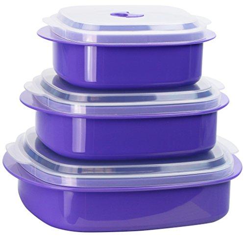 Calypso Basics by Reston Lloyd Mikrowellen-Kochgeschirr, Dampfgarer und Vorratsbehälter, 6-teilig, Schwarz 6 Piece violett