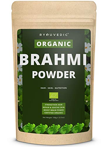 Organic Brahmi Powder by Ryouvedic | Ayurvedic Herb for Hair, Skin & Nutrition | Natural Hair Loss Treatment & Hair Growth Mask | Anti-Stress Facial Skin Care | Antioxidant & Memory Enhancer | 100g