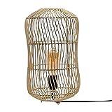 Vidal Regalos Lámpara Sobremesa Mimbre Rattan Luz Cálida Relajante Ambiente Boho 38 cm