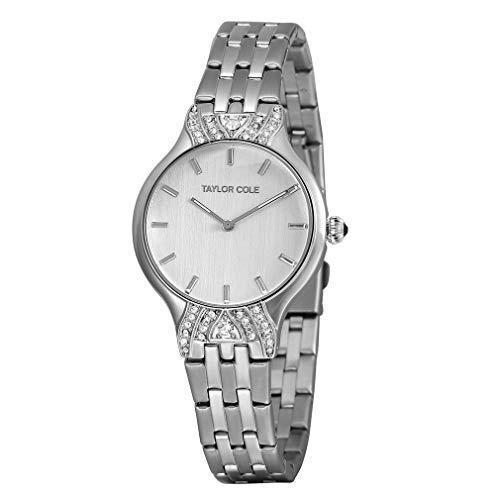 Anillo de Diamantes Caja de Oro Cinturón de Cuero Reloj de Cuarzo Reloj Simple Reloj de Pulsera Informal Impermeable para Hombres y Mujeres (Plata)