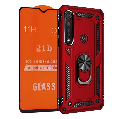 NETONBOX.COM Funda Anillo Uso Rudo Moto G8 Plus Antishock Holder Case + Mica Cristal Templado 21D 11H 0.33 mm Full Screen Cover Full Glue (Color Rojo)