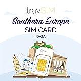 travSIM - Tarjeta SIM Prepaga del Sur Europea (SIM de Datos para del Sur Europa) - 1GB de Datos para Usar en del Sur Europa Válido por 30 Días - la SIM Funciona en más de 10+ Países