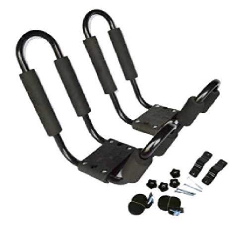 Soporte para kayak, 1 par de canastillas de barra J plegables reforzadas reforzadas para trabajo pesado Soporte para almacenamiento de rieles para automóvil con 2 correas y 4 tornillos Accesorios para