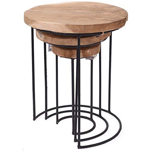 EMAKO Bijzettafelset van 3 kleine decoratieve ronde houten tafel balkontafel stapelbaar tafel tuintafel koffietafel eettafel van natuurlijk teakhout