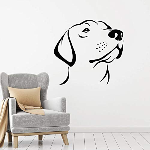 Calcomanía de pared con cabeza de perro, tienda de mascotas, hogar, dormitorio de animales, guardería, Interior Art Deco, vinilo, pegatina para ventana, lindo mural para mascotas