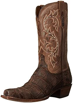 Lucchese Mens Burke Alligator Square Toe Western Cowboy Dress Boots Mid Calf - Brown - Size 9 2E