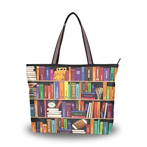 Eslifey Bunte Bücherregal Damen Handtaschen Schultertaschen für Damen Mädchen Gr. 38, multi
