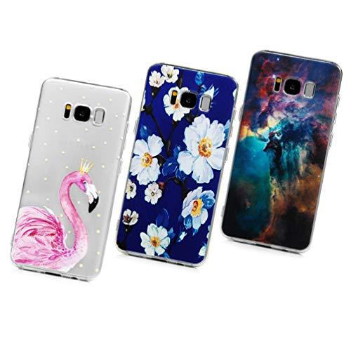 Vogu'SaNa Funda para teléfono móvil S8 Transparente, Compatible con Samsung Galaxy S8, Funda de Silicona Transparente, Funda Delgada para Pintar con Dibujo, Carcasa Blanda, 3 Carcasas, S2