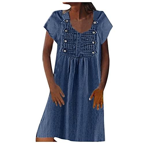IKFIVQD Vestidos de playa de verano para mujer, casual, cuello en V, sin mangas, vestido de espagueti, a rayas, empalme, correa de eslinga,, azul, Small