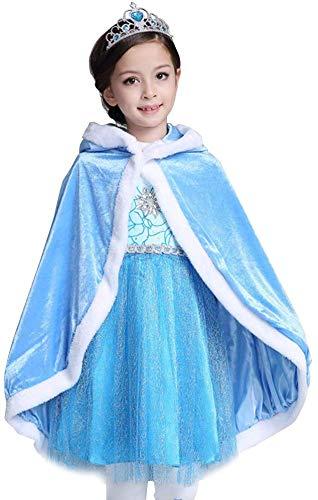 Elsa Princess Hooded Cape Velvet Mantel, Ice Queen Fairy Cosplay Kostuum voor kinderen Verjaardagscadeau voor 4-9Y kinderen, Niet inclusief rokken