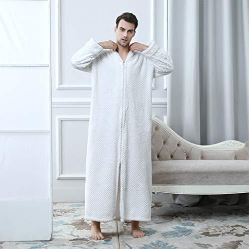 KNNEFE- Longue Section Peignoir Automne et Hiver Fermeture éclair Ananas Plaid Plus Grosse Robe Pyjama en Flanelle Hommes (Color : Blanc, Size : L)