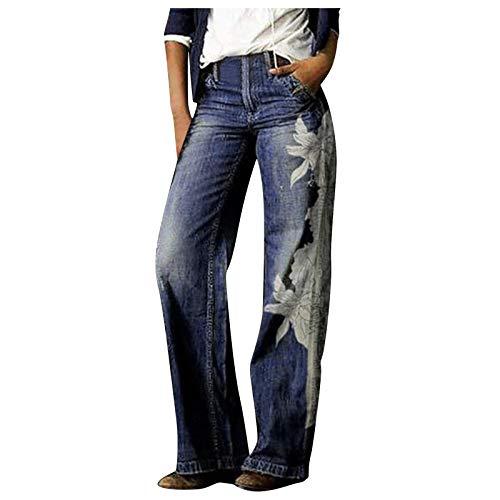 Snakell Pantalones Vaqueros Acampanados Mujeres Jeans, Vaqueros de Tiro Medio Pantalones Lápiz Largos Pantalones de Campana con Bolsillos Pantalones Casual Vaqueros Estampados