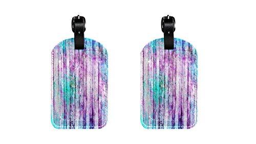 Plantillas de Colores Maleta de Etiqueta de Equipaje de Cuero de PU, Correa de Cuero Ajustable Resistente a los arañazos, diseño Elegante Paquete de 2